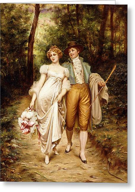 Courtship Greeting Card by Joseph Frederic Charles Soulacroix
