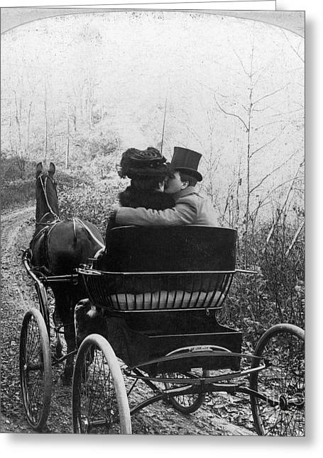 Unidentified Greeting Cards - Courtship/carriage Ride Greeting Card by Granger