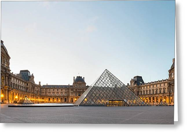 Pyramids Greeting Cards - Courtyard And Glass Pyramid Greeting Card by Panoramic Images