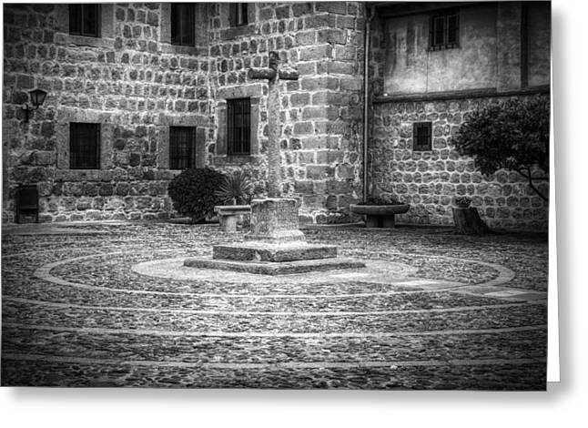Courtyard At Convent Of The Incarnation Bw Greeting Card by Joan Carroll