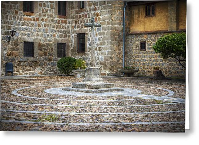 Courtyard At Convent Of The Incarnation Greeting Card by Joan Carroll