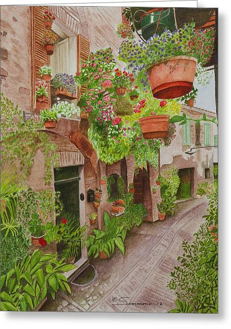 Courtyard Greeting Card by C Wilton Simmons Jr