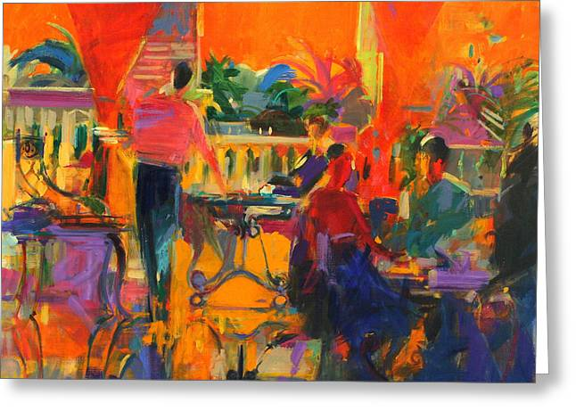Tunisia Greeting Cards - Courtyard Cafe   Tunis Greeting Card by Peter Graham
