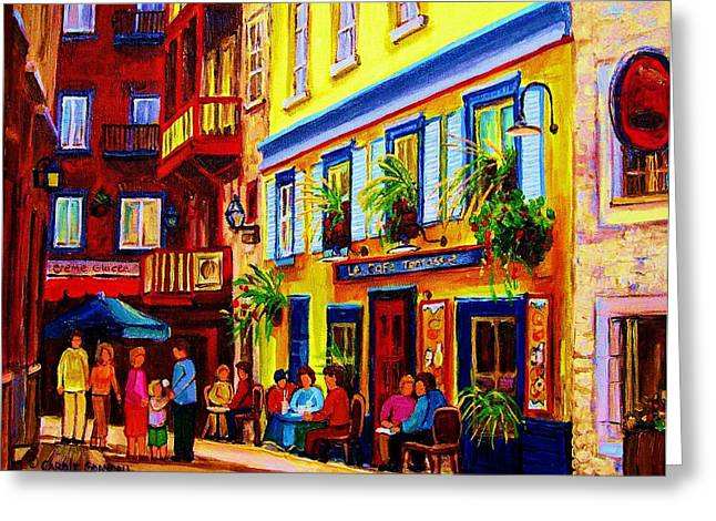 Montreal Streetscenes Paintings Greeting Cards - Courtyard Cafes Greeting Card by Carole Spandau