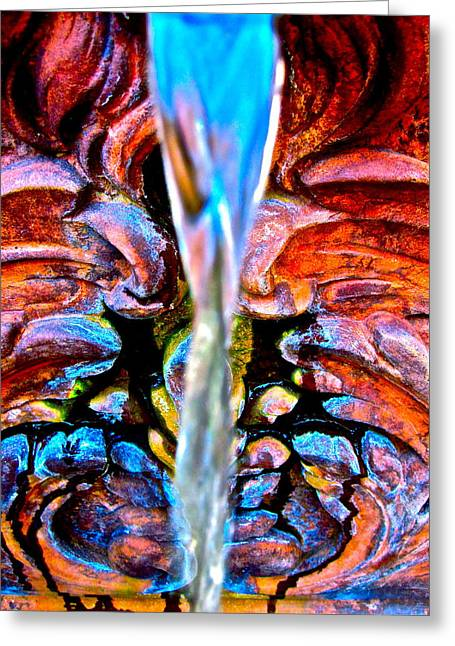 Water Garden Digital Art Greeting Cards - Courtyard Fountain Greeting Card by Gwyn Newcombe