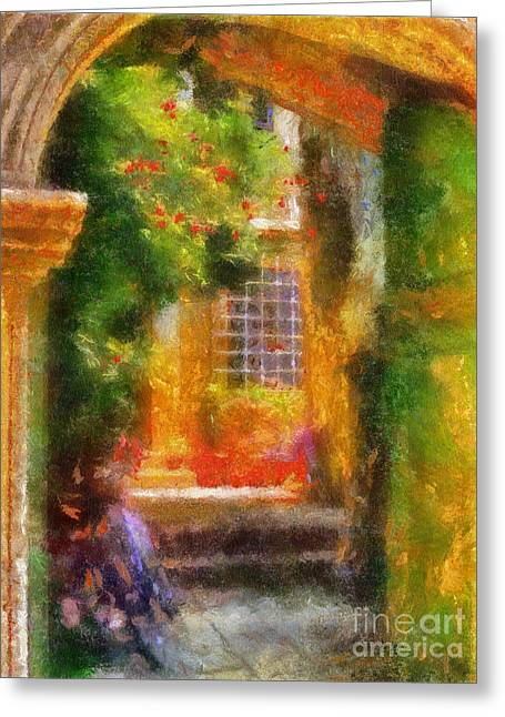 Doorway Digital Greeting Cards - Courtyard in Cavtat Greeting Card by Lois Bryan