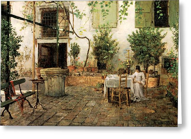 Courtyard In Venice Greeting Card by William Merrit Chase