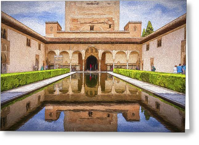 Europe Greeting Cards - Courtyard of the Myrtles Greeting Card by Joan Carroll