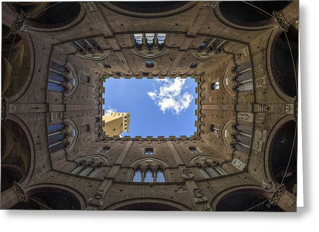 Siena Italy Greeting Cards - Courtyard Of The Podesta Greeting Card by Michele Chiroli