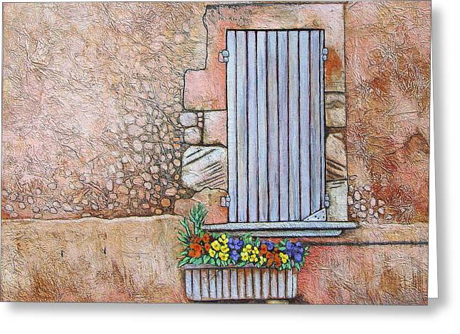 Southern France Mixed Media Greeting Cards - Courtyard Greeting Card by Pamela Iris Harden