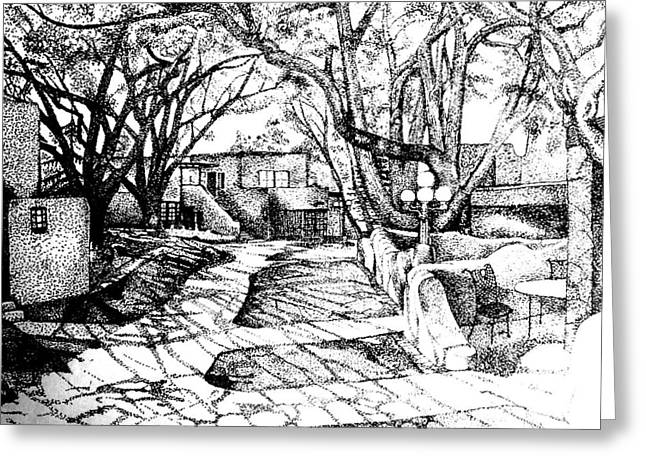 Adobe Drawings Greeting Cards - Courtyard Greeting Card by Randall Easterling