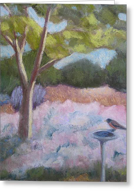 Bird On Tree Pastels Greeting Cards - Courtyard Tree Greeting Card by Constance Gehring