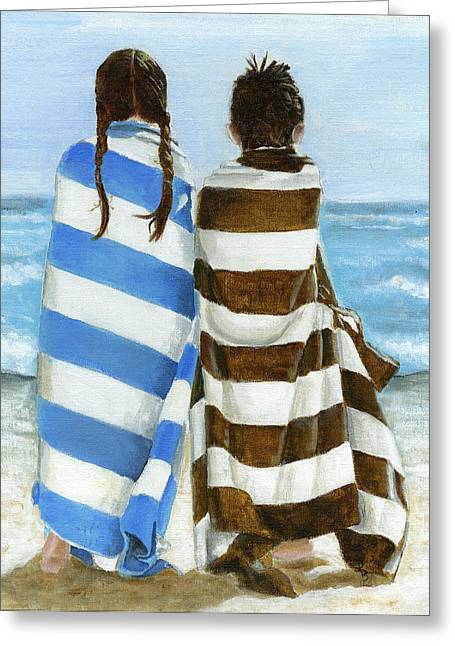 Boys And Girls Greeting Cards - Cousins Greeting Card by Debbie Brown