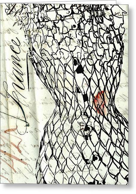 Dress Form Greeting Cards - Couture de France - Vintage Paris Mannequin Greeting Card by Anahi DeCanio - ArtyZen Studios