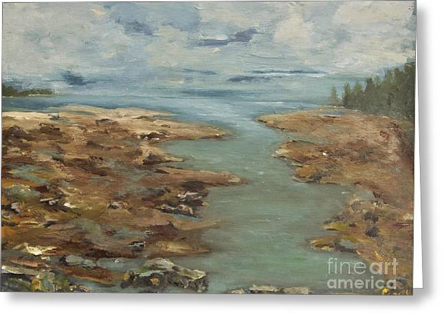 Cove At Low Tide Greeting Card by Chaline Ouellet