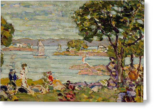 Green Foliage Greeting Cards - Cove  Maine Greeting Card by Maurice Brazil Prendergast