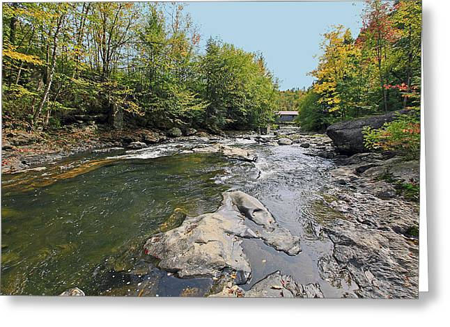 Vermont Photographs Greeting Cards - Coverd Bridge in Vermont Greeting Card by James Steele
