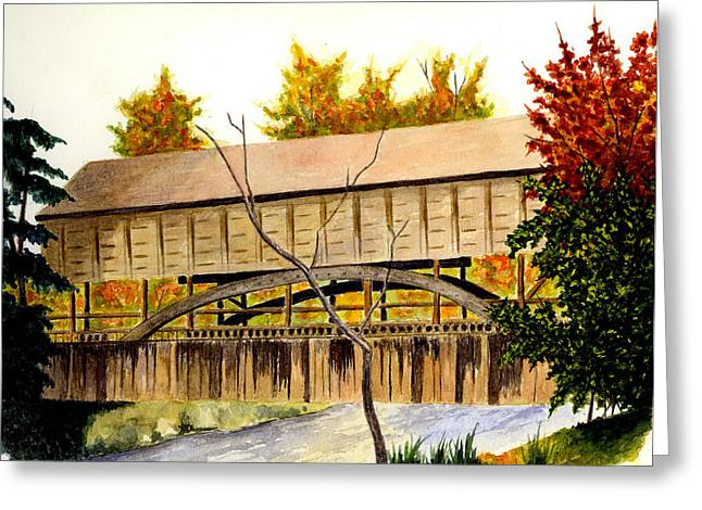 Covered Bridge Paintings Greeting Cards - Covered Bridge - Mill Creek Park Greeting Card by Michael Vigliotti