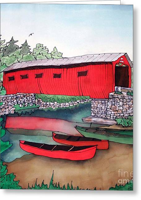 Stream Tapestries - Textiles Greeting Cards - Covered Bridge and Canoes Greeting Card by Linda Marcille