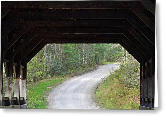 Covered Bridge Greeting Cards - Covered Bridge and Winding Road Greeting Card by Bruce Gourley