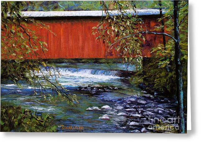 Covered Bridge Pastels Greeting Cards - Covered Bridge and  Wissahickon Creek Greeting Card by Joyce A Guariglia