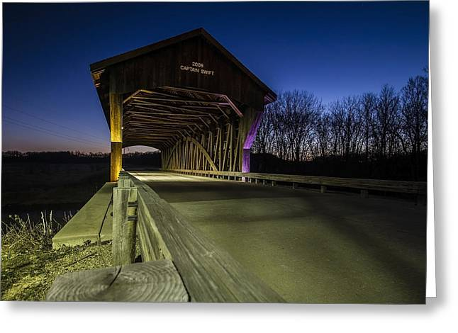 Covered Bridge Greeting Cards - Covered Bridge at dusk with light painting Greeting Card by Sven Brogren