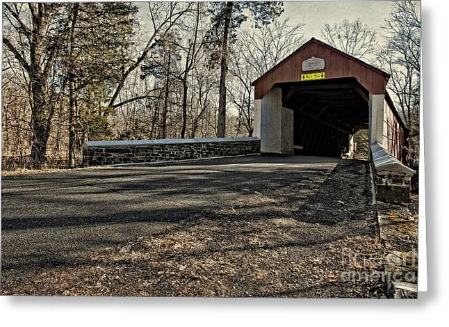 Covered Bridge At Stover Mill Greeting Card by Tom Gari Gallery-Three-Photography