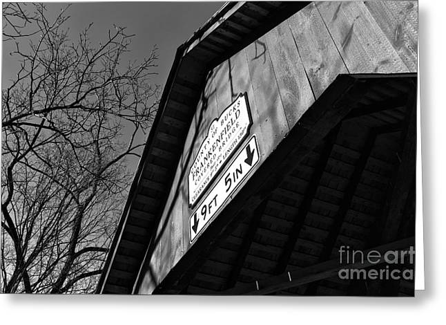 Covered Bridge Greeting Cards - Covered Bridge Clearance mono Greeting Card by John Rizzuto