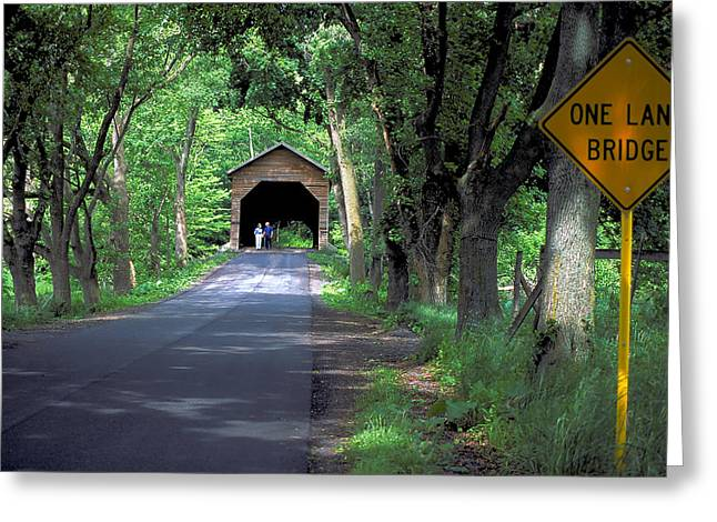 Rural Indiana Greeting Cards - Covered Bridge in Rural Indiana Greeting Card by Carl Purcell