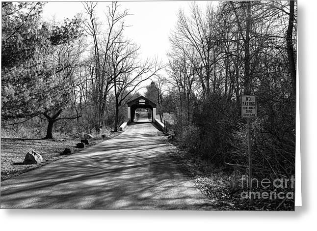 Covered Bridge Greeting Cards - Covered Bridge in the Distance mono Greeting Card by John Rizzuto