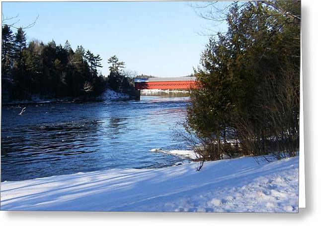 River Scenes Pyrography Greeting Cards - Covered Bridge In Winter Greeting Card by Claude Prud