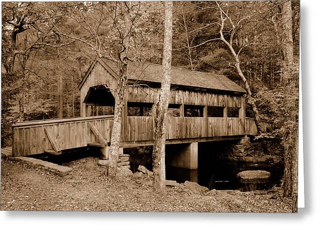 Covered Pyrography Greeting Cards - Covered Bridge Greeting Card by Ken Welsh