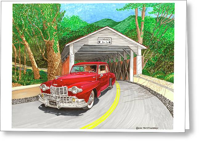 Covered Bridge Paintings Greeting Cards - Covered Bridge Lincoln Greeting Card by Jack Pumphrey