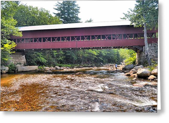 New England Village Greeting Cards - Covered Bridge Over the Swift River Greeting Card by James Potts