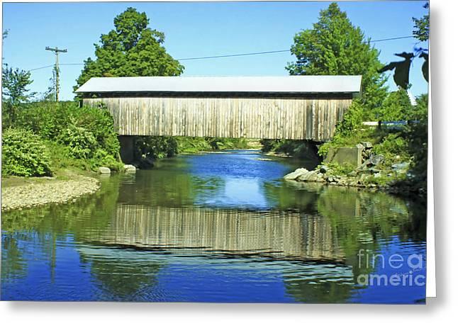 Covered Bridge Greeting Cards - Covered Bridge Reflection Greeting Card by Deborah Benoit