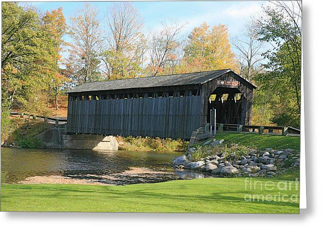 1880s Mixed Media Greeting Cards - Covered bridge Greeting Card by Robert Pearson