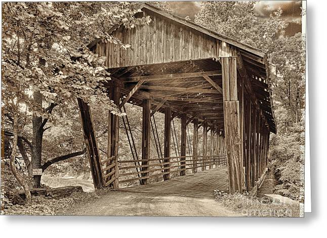 Covered Bridge Greeting Cards - Covered Bridge  Sepia Tone Greeting Card by Mindy Sommers