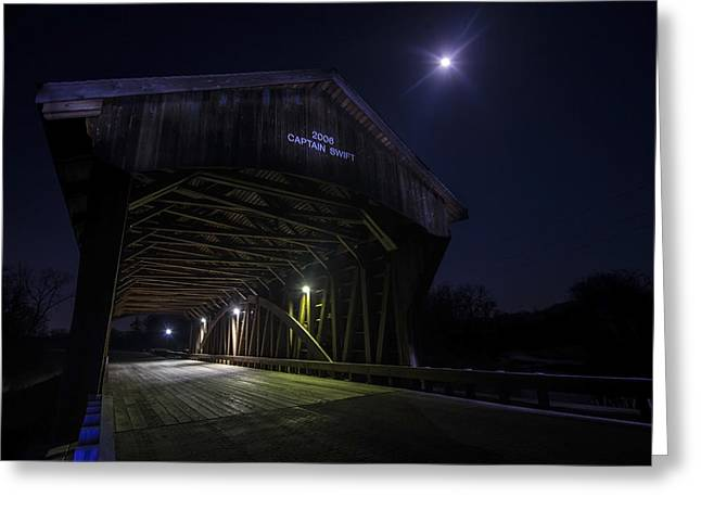 Covered Bridge Greeting Cards - Covered Bridge with full moon Greeting Card by Sven Brogren