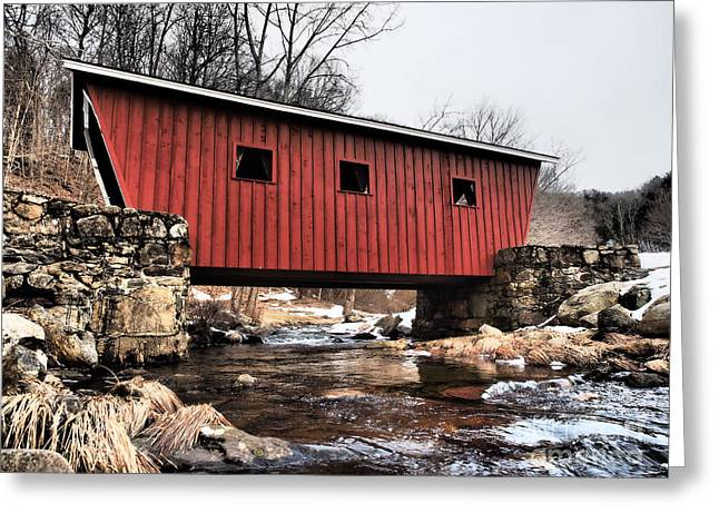 Kent Falls State Park Greeting Cards - Covered Foot Bridge Greeting Card by Frank Piercy