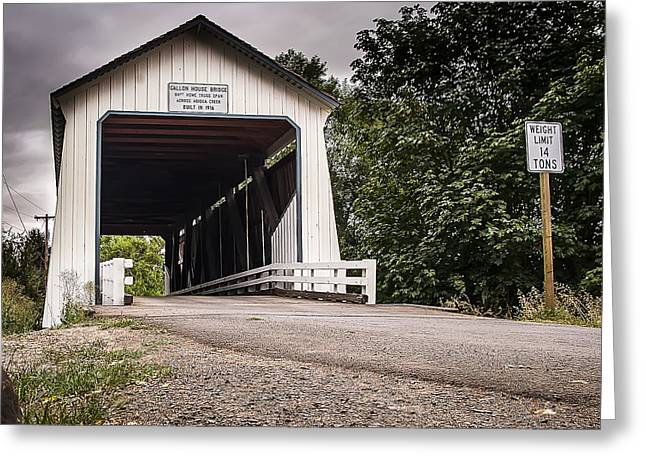 Old Country Roads Greeting Cards - Covered Oregon Bridge Greeting Card by Darcy Michaelchuk