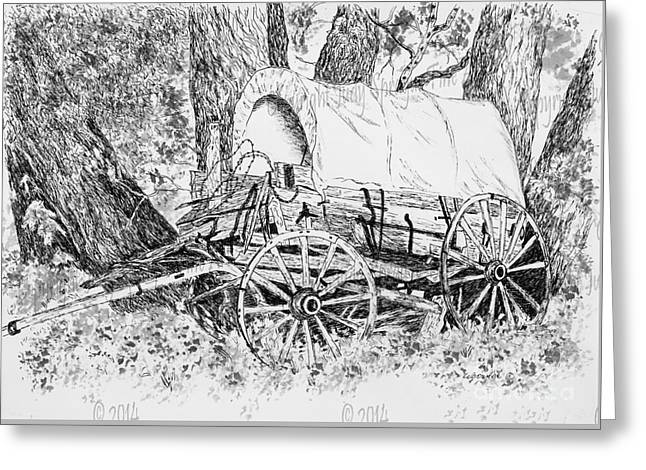 Wagon Wheels Drawings Greeting Cards - Covered Wagon Greeting Card by Judy Sprague