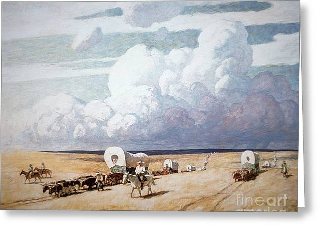 Storming Greeting Cards - Covered Wagons Heading West Greeting Card by Newell Convers Wyeth
