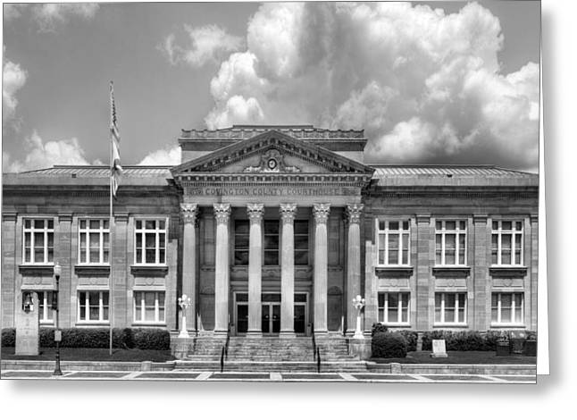 Town Square Greeting Cards - Covington County in Black and White Greeting Card by JC Findley