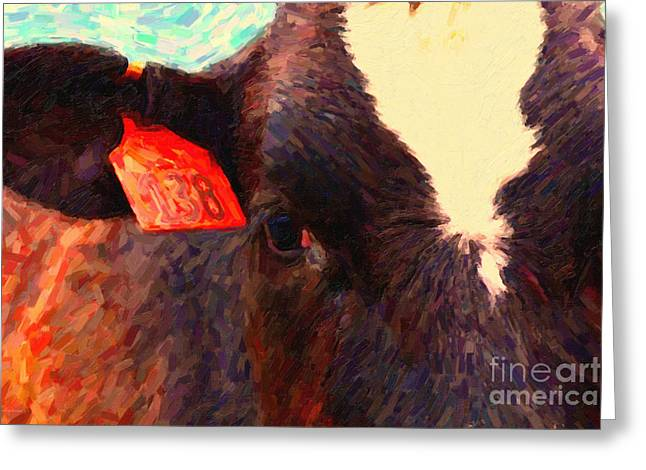 Pt Reyes Greeting Cards - Cow 138 Reinterpreted Greeting Card by Wingsdomain Art and Photography