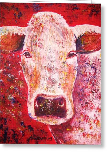 Canvas Pastels Greeting Cards - Cow Greeting Card by Anastasis  Anastasi