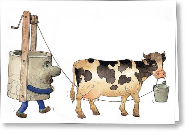 Cow Drawings Greeting Cards - Cow and Well02 Greeting Card by Kestutis Kasparavicius