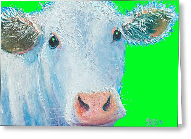 Cow Greeting Cards - Cow Art - Charolais Greeting Card by Jan Matson
