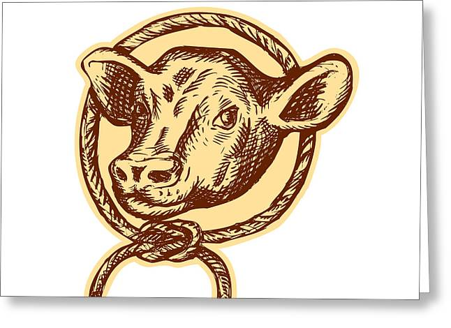 Letterpress Greeting Cards - Cow Bull Head Rope Circle Etching Greeting Card by Aloysius Patrimonio