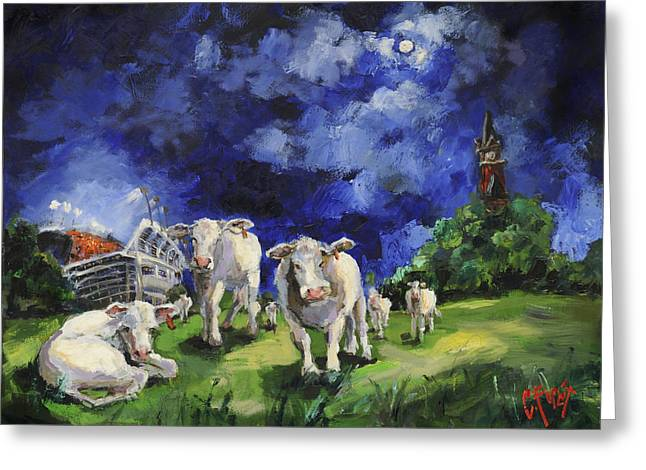 Cow College Auburn University Greeting Card by Carole Foret