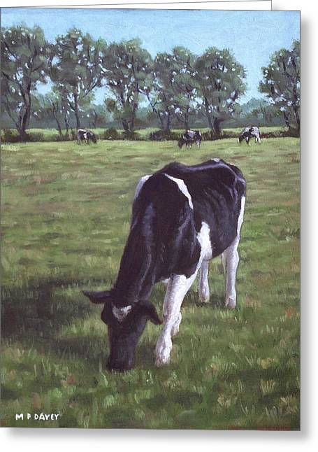 Cow In Field At Throop Uk  Greeting Card by Martin Davey